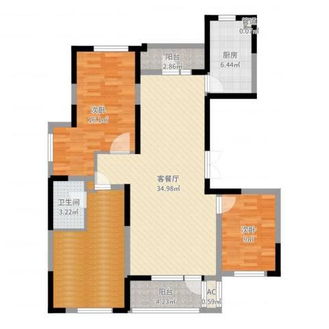 星河传说2室2厅1卫1厨116.00㎡户型图
