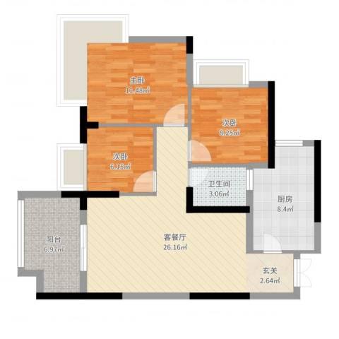 融汇温泉城锦华里3室2厅1卫1厨88.00㎡户型图