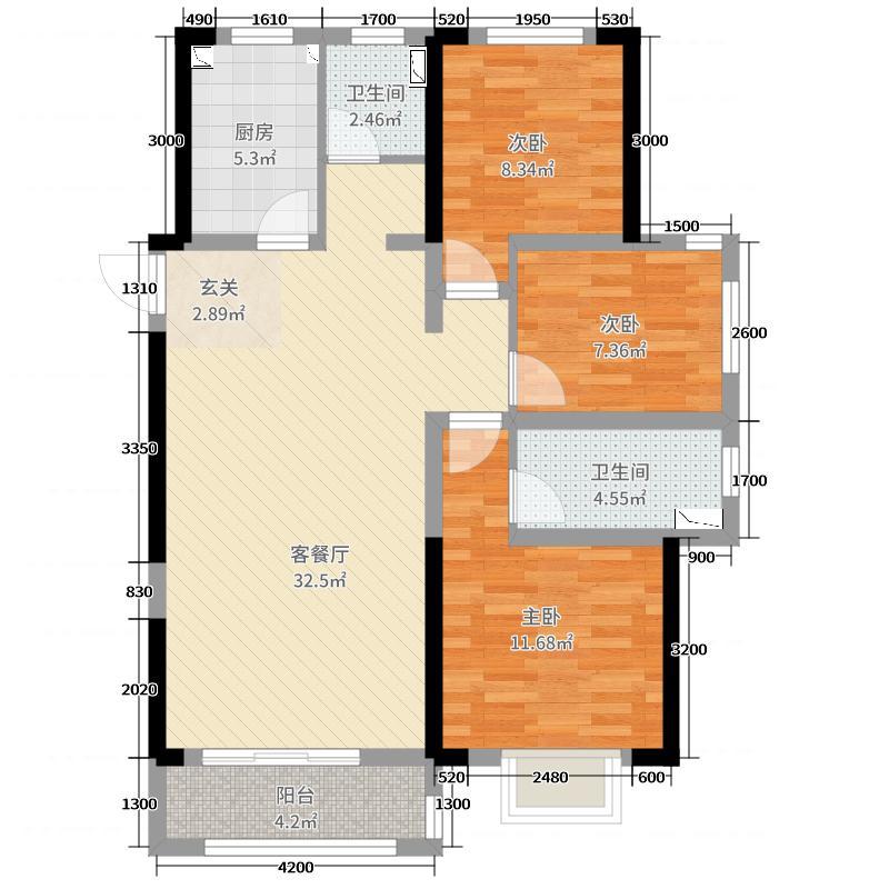 海尔地产国际广场135.00㎡7号楼户型3室3厅2卫1厨