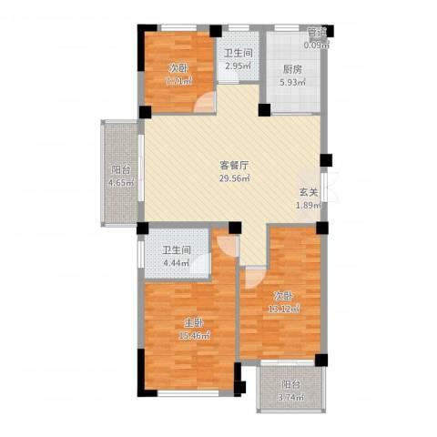 东方不夜城3室2厅2卫1厨87.65㎡户型图