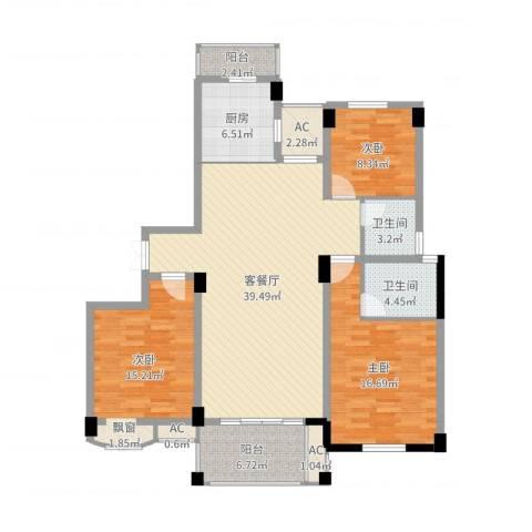 BOBO城3室2厅2卫1厨134.00㎡户型图