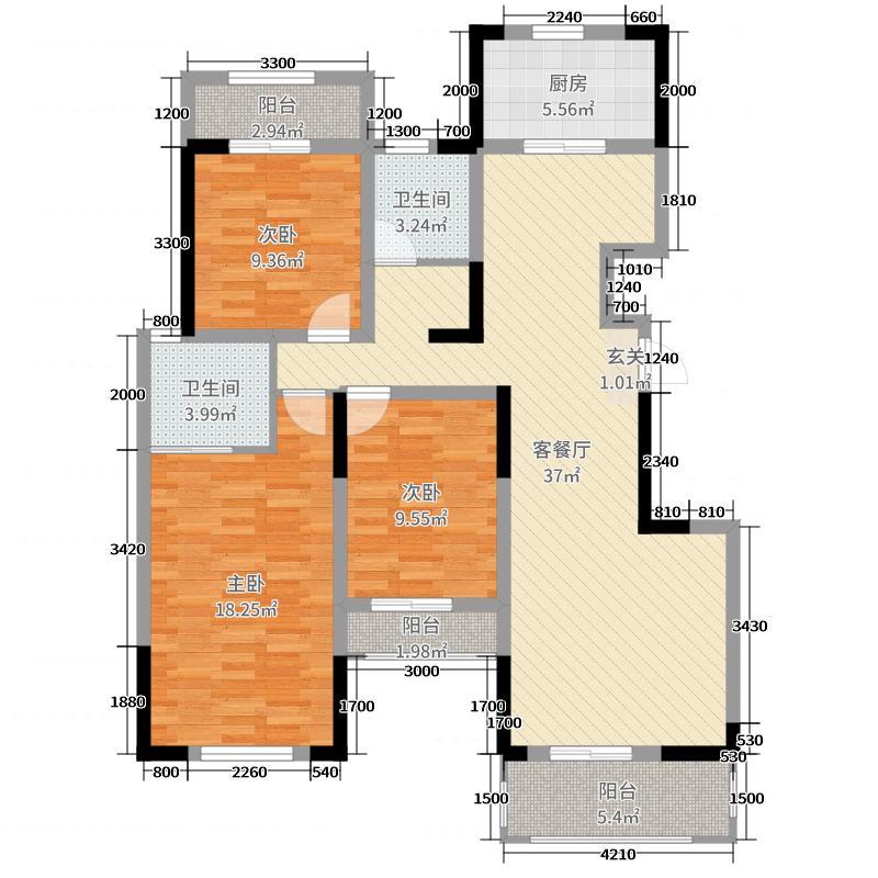 民安城市之光126.18㎡三层D3户型3室3厅2卫1厨