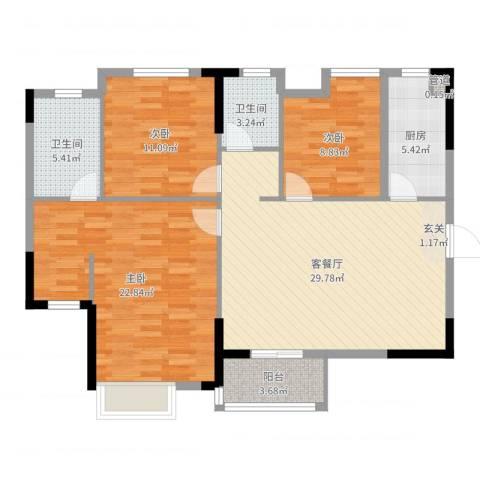 金色世家3室2厅2卫1厨113.00㎡户型图