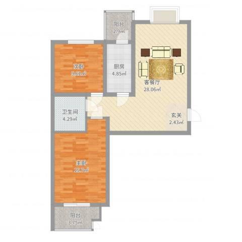 滨河绿洲2室2厅1卫1厨86.00㎡户型图