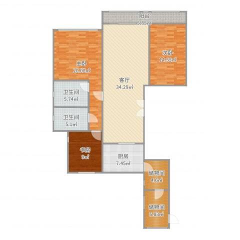 龙湖香醍漫步别墅3室1厅2卫1厨141.00㎡户型图