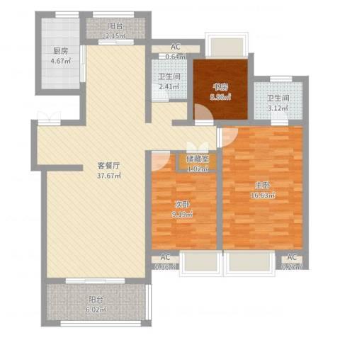 商城凤凰印象3室2厅2卫1厨112.00㎡户型图