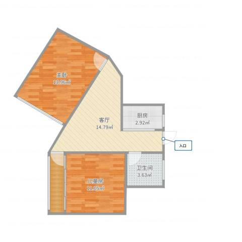 通华大楼2室1厅1卫1厨61.00㎡户型图