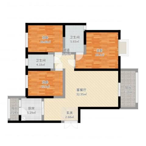 御景水城3室2厅2卫1厨116.00㎡户型图