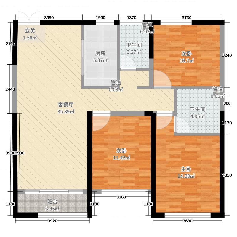 润景・园著137.00㎡3#B8户型3室3厅2卫1厨