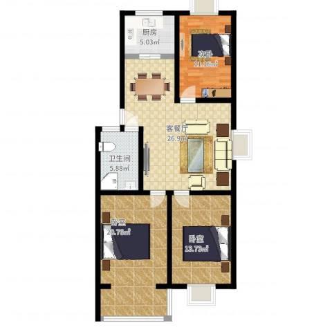 祥瑞家园1室2厅1卫1厨119.00㎡户型图