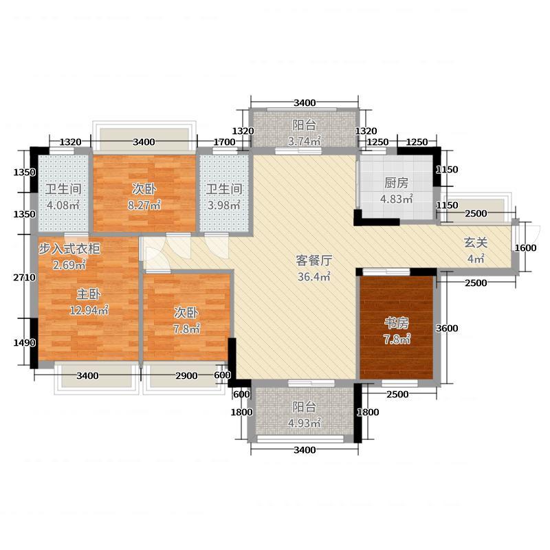 皓翔壹城中心119.00㎡5栋03户型4室4厅2卫1厨