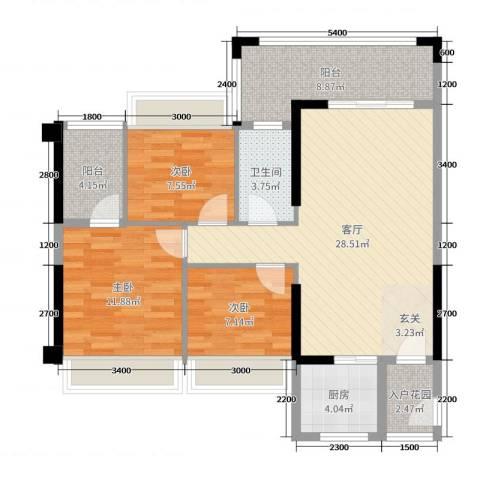 嘉豪园二期3室1厅1卫1厨95.00㎡户型图