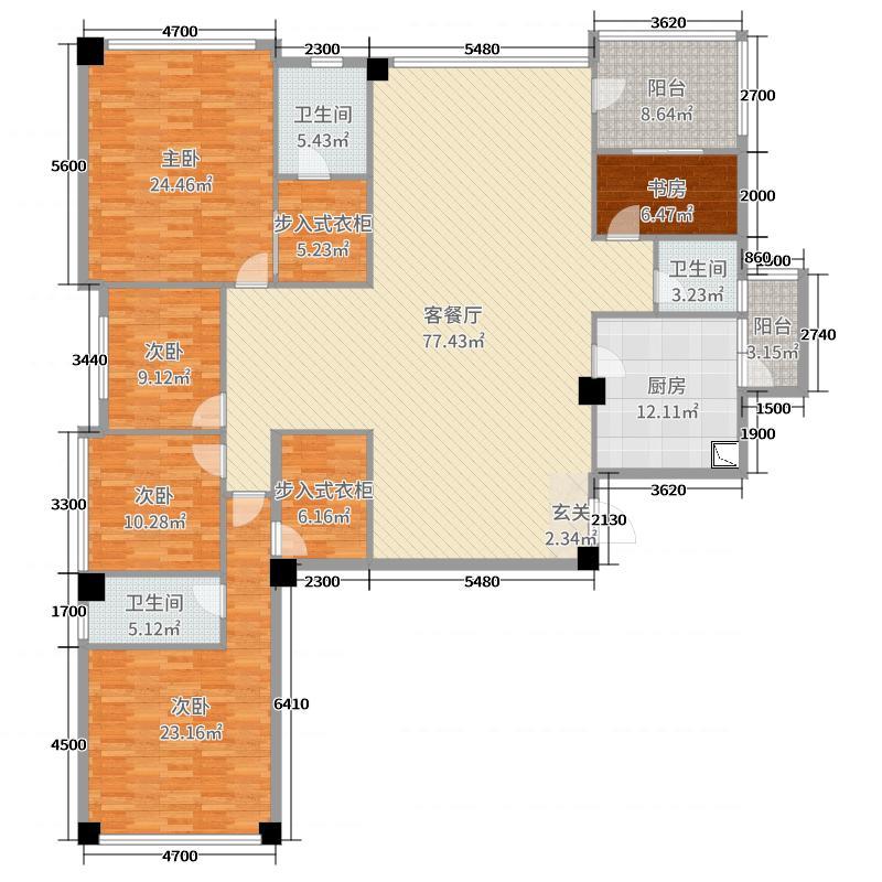 江�Z湖234.01㎡5#05户型5室5厅3卫1厨