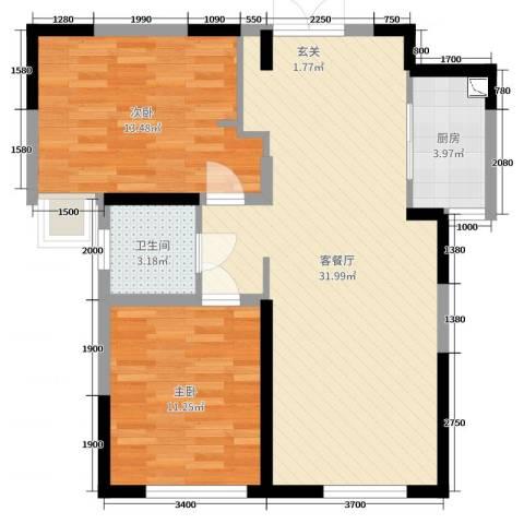 铂悦山2室2厅1卫1厨88.00㎡户型图
