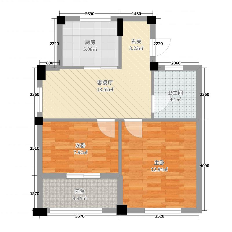 东方和园60.00㎡A-户型2室2厅1卫1厨