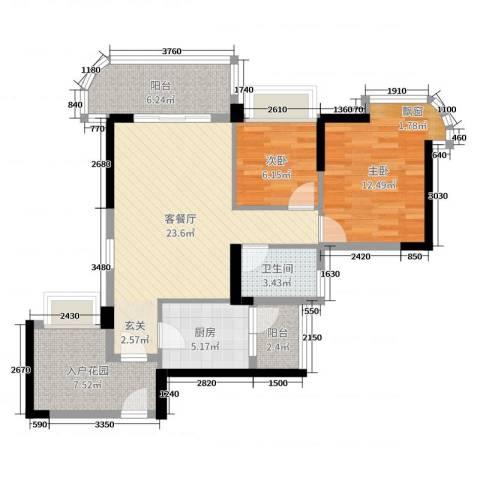 悦盈新城2室2厅1卫1厨84.00㎡户型图