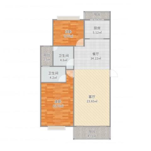 金桥新城四期金舍苑2室1厅2卫1厨104.00㎡户型图
