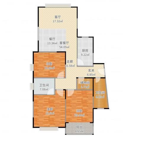 青之杰花园3室2厅2卫1厨184.00㎡户型图