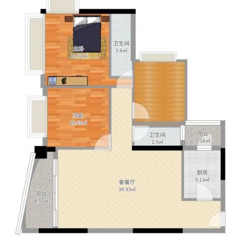 愉景南苑2室2厅2卫1厨108.00㎡户型图