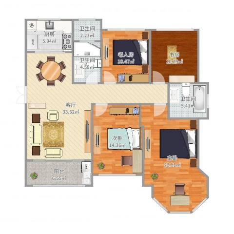 中南锦城4室1厅3卫1厨145.00㎡户型图