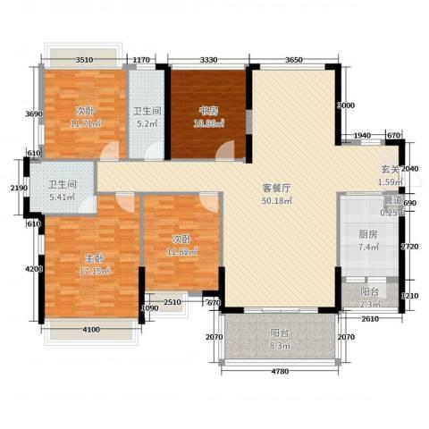 佳兆业御龙山4室2厅2卫1厨165.00㎡户型图