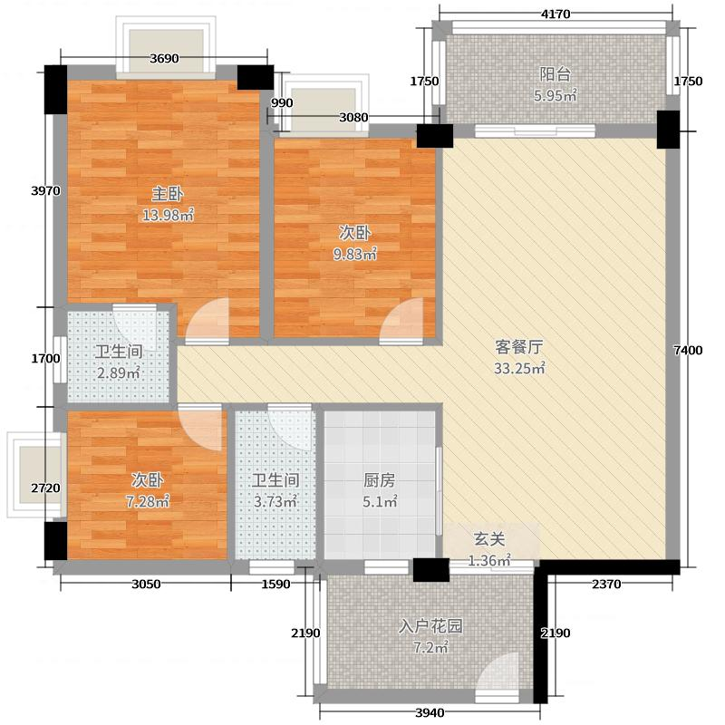 学府花园【时光小筑】108.97㎡13栋03户型3室3厅2卫1厨