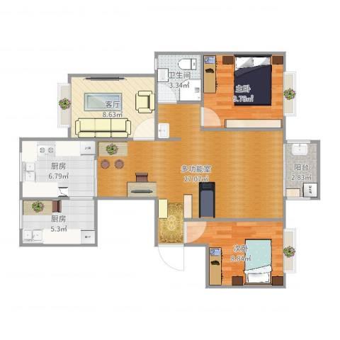翰林世家2室1厅1卫2厨104.00㎡户型图