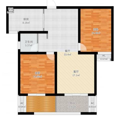 海陵首府2室1厅1卫1厨109.00㎡户型图