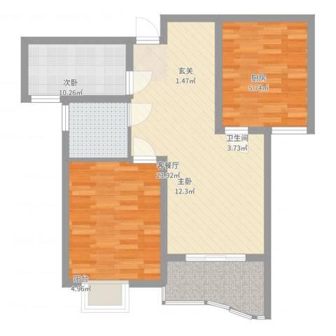 富都豪园2室2厅1卫1厨88.00㎡户型图