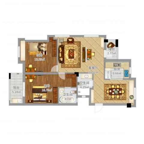交通紫园2室2厅2卫1厨114.00㎡户型图