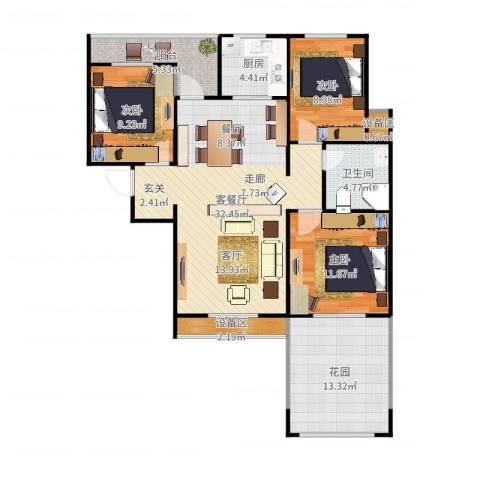 枫丹翡翠公馆3室2厅1卫1厨116.00㎡户型图