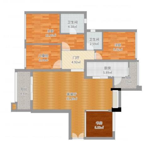 滨江一号4室2厅2卫1厨118.00㎡户型图