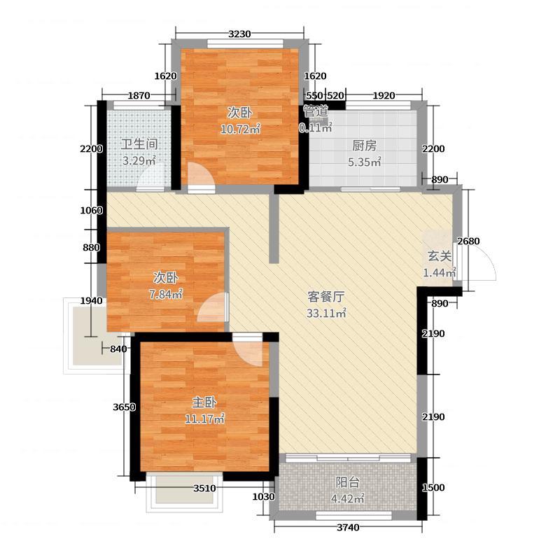 中南锦城95.00㎡二期12#标准层B1户型3室3厅1卫1厨