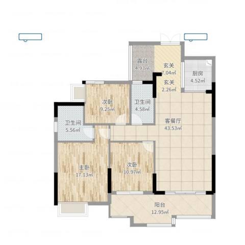 尚东雅轩3室2厅2卫1厨136.00㎡户型图