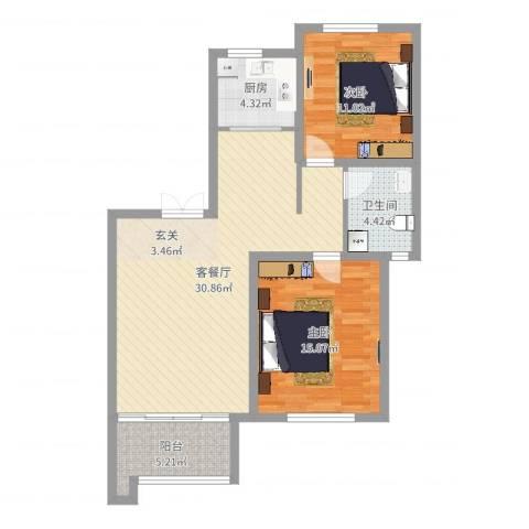 即墨东凯伴山蓝庭2室2厅1卫1厨89.00㎡户型图
