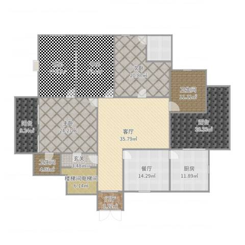 华馨苑别墅4室2厅2卫1厨254.00㎡户型图