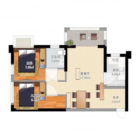 泉州中骏蓝湾悦庭2室2厅1卫1厨63.00㎡户型图