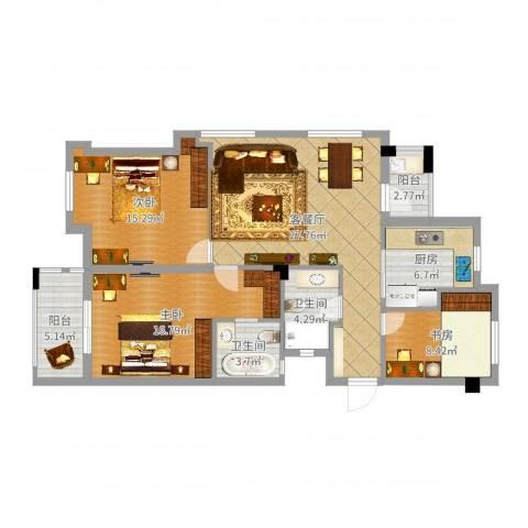 交通紫园3室2厅2卫1厨114.00㎡户型图