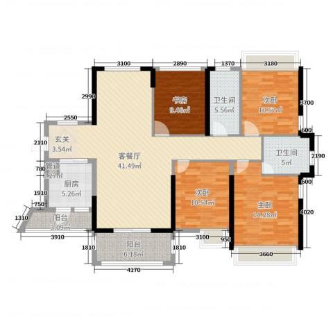 佳兆业御龙山4室2厅2卫1厨142.00㎡户型图