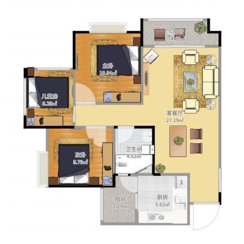 港九・香山屿3室2厅1卫1厨88.00㎡户型图
