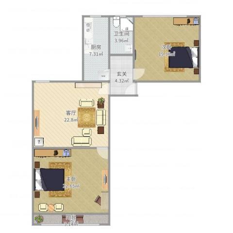 宝华新区2室1厅1卫1厨104.00㎡户型图