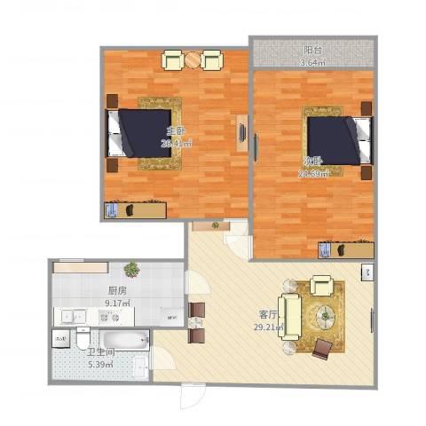 宝华新区2室1厅1卫1厨123.00㎡户型图