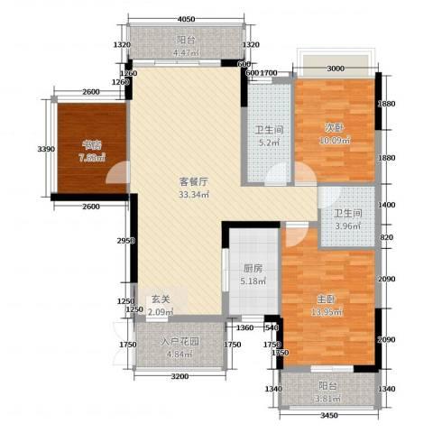 中鼎江岸花城3室2厅2卫1厨116.00㎡户型图