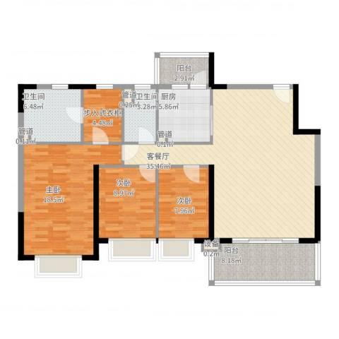 恒大绿洲3室2厅2卫1厨145.00㎡户型图