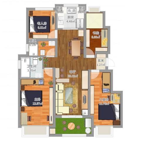 万科城4室1厅1卫1厨104.00㎡户型图