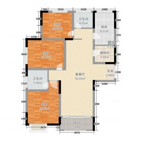 华仁凤凰城3室2厅2卫1厨138.00㎡户型图