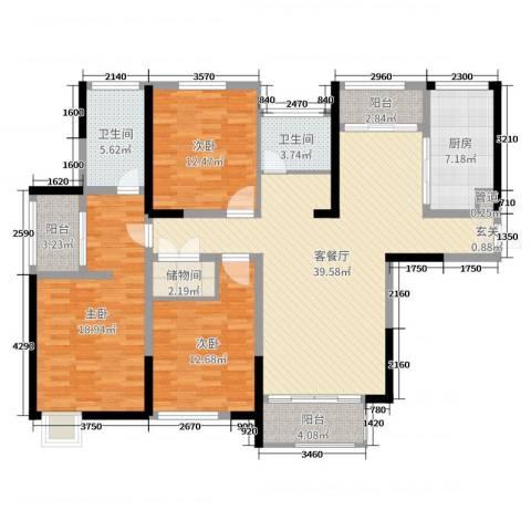 华仁凤凰城3室2厅2卫1厨141.00㎡户型图