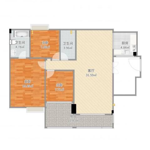 翠湖居3室1厅2卫1厨118.00㎡户型图