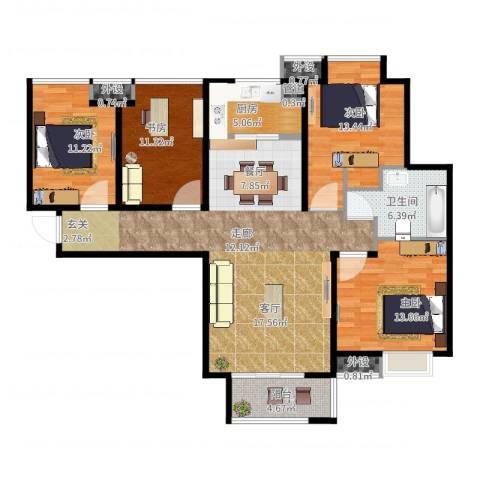 中铁滨湖名邸4室2厅1卫1厨153.00㎡户型图