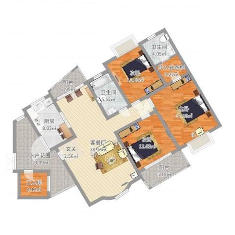 天星锦苑3室2厅2卫1厨125.16㎡户型图